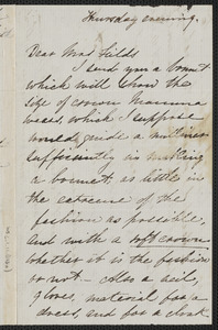Una Hawthorne autograph letter signed to Annie Adams Fields, [Concord, 19 May 1864]