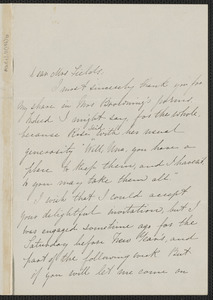 Una Hawthorne autograph letter signed to Annie Adams Fields, [Concord], 21 December [1864]