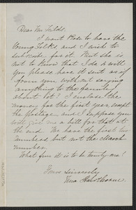 Una Hawthorne autograph letter signed to James Thomas Fields, [Concord], approximately March 1865