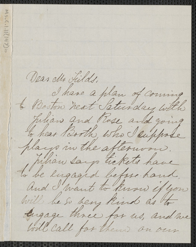 Una Hawthorne autograph note signed to James Thomas Fields, [Concord], 2 April 1865