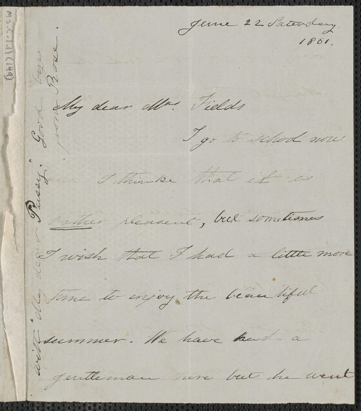 Rose Hawthorne Lathrop autograph letter signed to Annie Adams Fields, [Concord], 22 June 1861