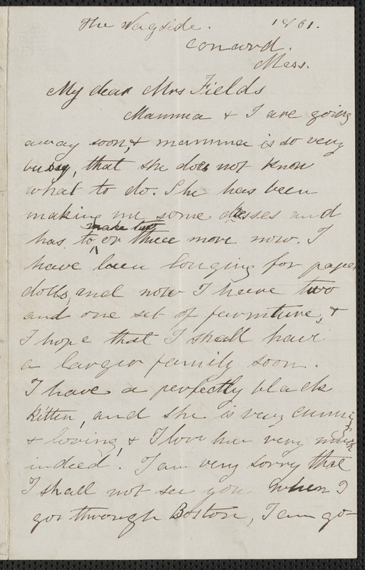 Rose Hawthorne Lathrop autograph letter signed to Annie Adams Fields with appended note from Sophia Hawthorne to Annie Adams Fields, The Wayside, Concord, [September] 1861