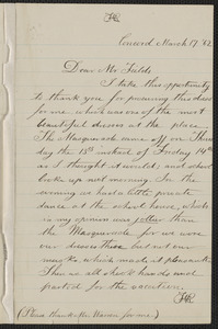 Rose Hawthorne Lathrop autograph letter signed to James Thomas Fields, Concord, 17 March [18]62