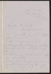 Rose Hawthorne Lathrop autograph letter signed to Annie Adams Fields, The Wayside, Concord, 1 January 1863