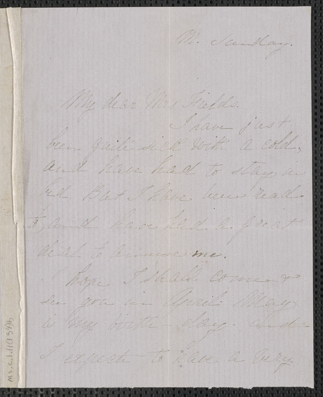 Rose Hawthorne Lathrop autograph letter signed to Annie Adams Fields, [Concord, 23 March 1863]