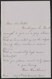 Rose Hawthorne Lathrop autograph note signed to Annie Adams Fields, [Concord], 5 May 1864
