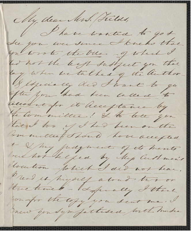 Elizabeth Palmer Peabody autograph letter signed to Annie Adams Fields, 24 [December 1863]