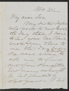 Elizabeth Palmer Peabody autograph letter signed to [James Thomas Fields], 1 November [1868]