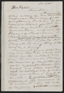 Elizabeth Palmer Peabody autograph letter signed to James Thomas Fields, 20 November [1868]