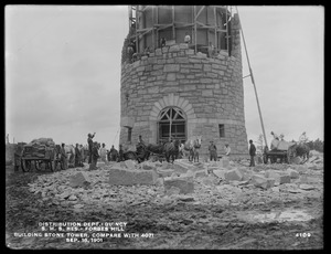 Distribution Department, Southern High Service Forbes Hill Reservoir, building the stone tower (compare with No. 4071), Quincy, Mass., Sep. 18, 1901