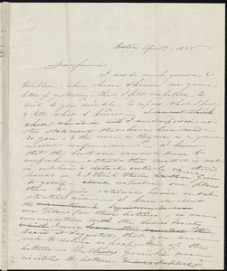 Unfinished rough draft of a letter from Anne Warren Weston, Boston, to Sarah Moore Grimké, April 4, 1838