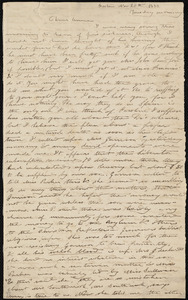 Incomplete letter from Deborah Weston, Boston, [Mass.], to Anne Warren Weston, Nov. 20th, 1838, Tuesday morning