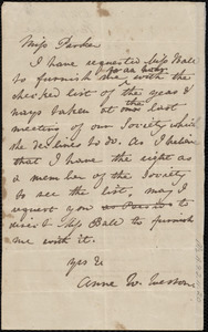 Letter from Anne Warren Weston, [Boston?], to Mary S. Parker, [1839?]