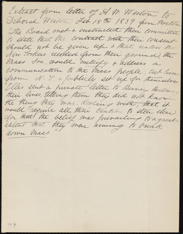 extract of a letter from anne warren weston boston to deborah