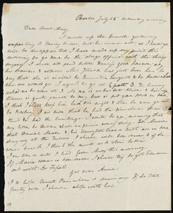 Letter from Anne Warren Weston, Boston, to Mary Weston, July 25, [1840?], Wednesday morning