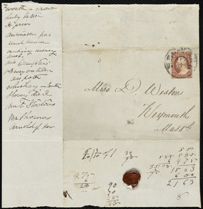 Envelopes addressed to Deborah Weston, New York and New Bedford, MA, Apr[il] 8 and Oct[ober] 7