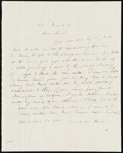 Letter from Anne Warren Weston to Lucia Weston, Sat., 1/2 past 2 [o'clock]