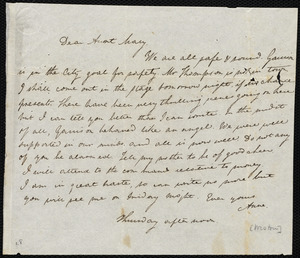 Letter from Anne Warren Weston, [Boston?], to Mary Weston, [22 Oct. 1835], Thursday afternoon