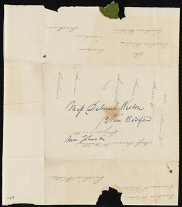 Fragment of letter to Deborah Weston