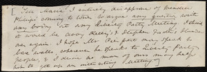 Fragment of letter from Anne Warren Weston to Emma Forbes Weston, [October 15, 1843?]