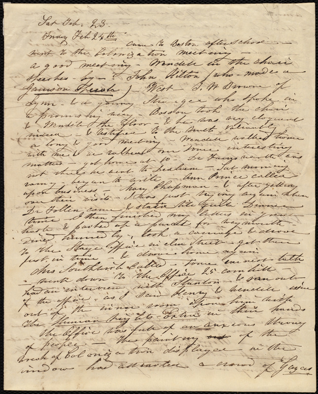 Letter from Caroline Weston to Deborah Weston, [Friday, Feb. 23, 1839?]