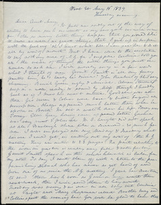 Letter from Anne Warren Weston, West St., [Boston], to Mary Weston, May 16, 1839, Wednesday evening