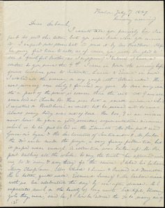 Letter from Anne Warren Weston, Boston, to Deborah Weston, July 7, 1839, Sunday evening