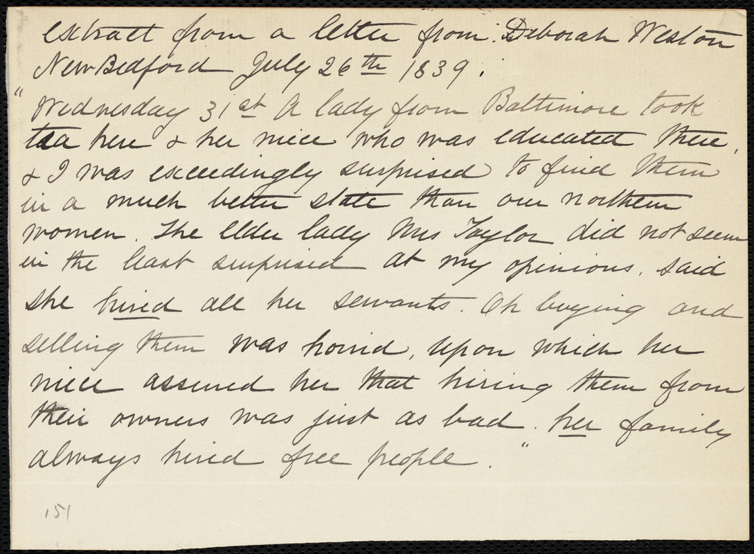 Extract of a letter from Deborah Weston, New Bedford, [Mass.], July 26th, 1839
