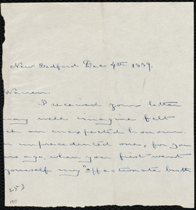Fragment of letter from Deborah Weston, New Bedford, [Mass.], to Richard Warren Weston, Dec. 4th, 1839