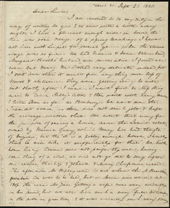 Letter from Anne Warren Weston, West St. [and] Chardon St. Chapel, [Boston], to Lucia Weston, Sept. 21, 1840 [and] Wednesday evening