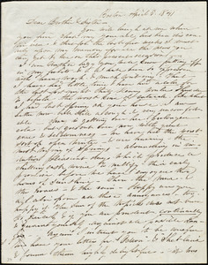 Incomplete letter from Caroline Weston, Boston, [Mass.], to Maria Weston Chapman and Henry Grafton Chapman, April 5, 1841