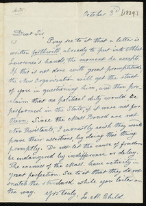 Letter from Lydia Maria Child to Francis Jackson, October 3'd, [1839]