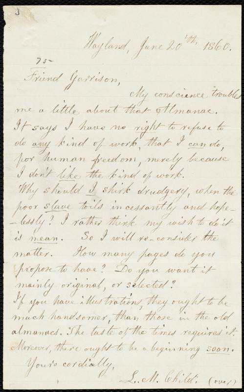 Letter from Lydia Maria Child, Wayland, to William Lloyd Garrison, June 20'th, 1860
