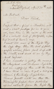Letter from Lydia Maria Child, Wayland, to Robert Folger Wallcut, April 20 'th, 1862