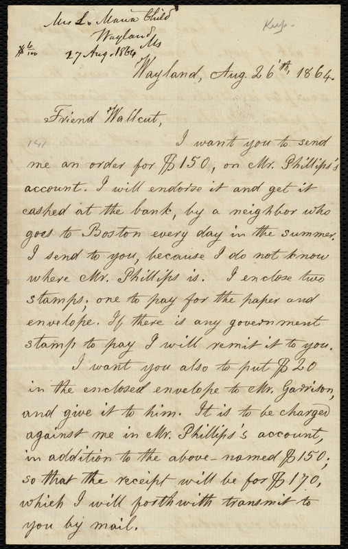 Letter from Lydia Maria Child, Wyland, to Robert Folger Wallcut, Aug. 26 'th, 1864