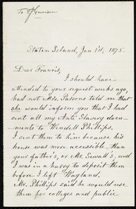 Letter from Lydia Maria Child, Staten Island, to Francis Jackson Garrison, Jan 1'st, 1875