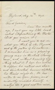 Letter from Lydia Maria Child, Wayland, to William Lloyd Garrison, Aug. 14 'th, 1878