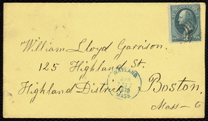 Letter from Lydia Maria Child, Wayland, to William Lloyd Garrison, April 22d 1879