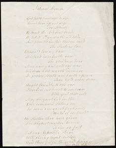 National Hymn by Lydia Maria Child, West Boylston, Oct 25, 1853