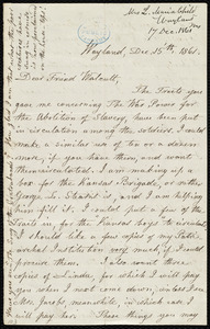 Letter from Lydia Maria Child, Wayland, to Robert Folger Wallcut, Dec. 15'th, 1861