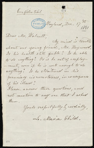 Letter from Lydia Maria Child, Wayland, to Robert Folger Wallcut, Dec. 17'th
