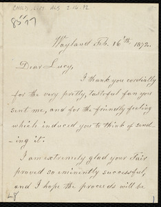 Letter from Lydia Maria Child, Wayland, to Lucy Stone, Feb. 16'th, 1872