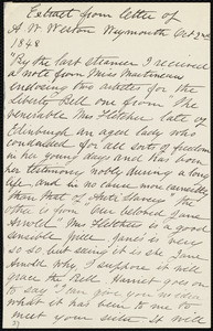 Extract from letter from Anne Warren Weston, Weymouth, [Mass.], to Emma Forbes Weston, Oct. 2nd, 1848