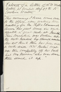 Extract of a letter from Anne Warren Weston, 21 Cornhill, [Boston], to Caroline Weston, Aug. 29th