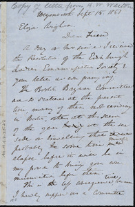 Draft of letter from Anne Warren Weston, Weymouth, [Mass.], to Eliza Wigham, Sept. 15, 1850