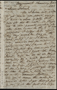 Incomplete letter from Anne Warren Weston, Weymouth, [Mass.], to Deborah Weston, Thursday, Feb. 3, 1853