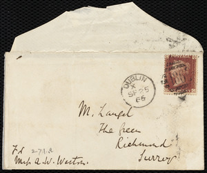 Letter from Richard Davis Webb, 177 Great Brunswick Street, Dublin, [Ireland], to Anne Warren Weston, September 25, 1866
