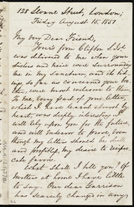 Letter from George Thompson, 128 Sloane Street, London, to Anne Warren Weston, Friday, August 15, 1851