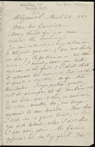 Letter from Anne Warren Weston, Weymouth, [Mass.], to William Lloyd Garrison, March 28, 1885
