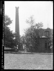 Distribution Department, Mystic Pumping Station, showing dangerous condition of chimney top, Somerville, Mass., Aug. 31, 1920